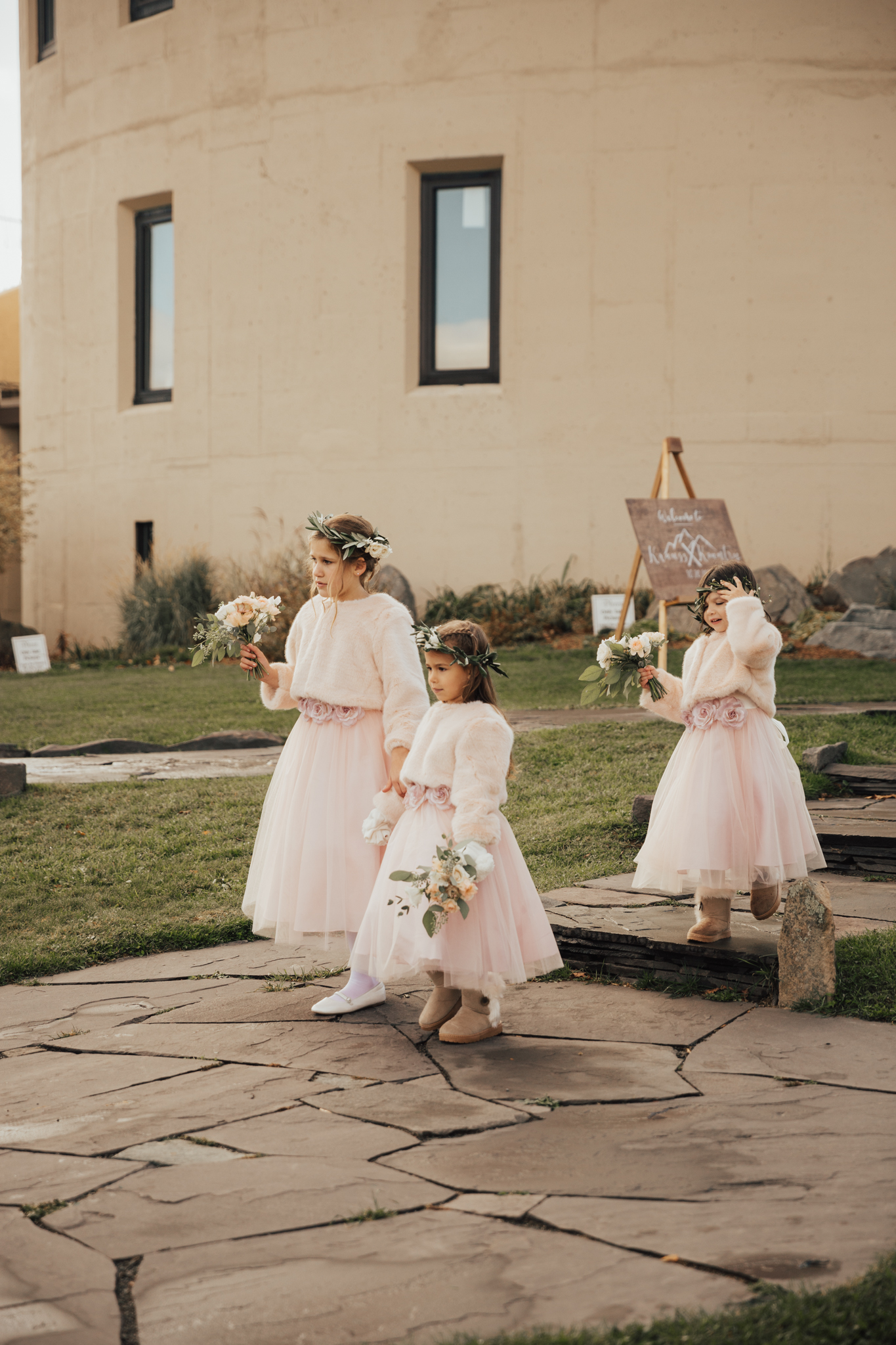 flower girls winter wedding