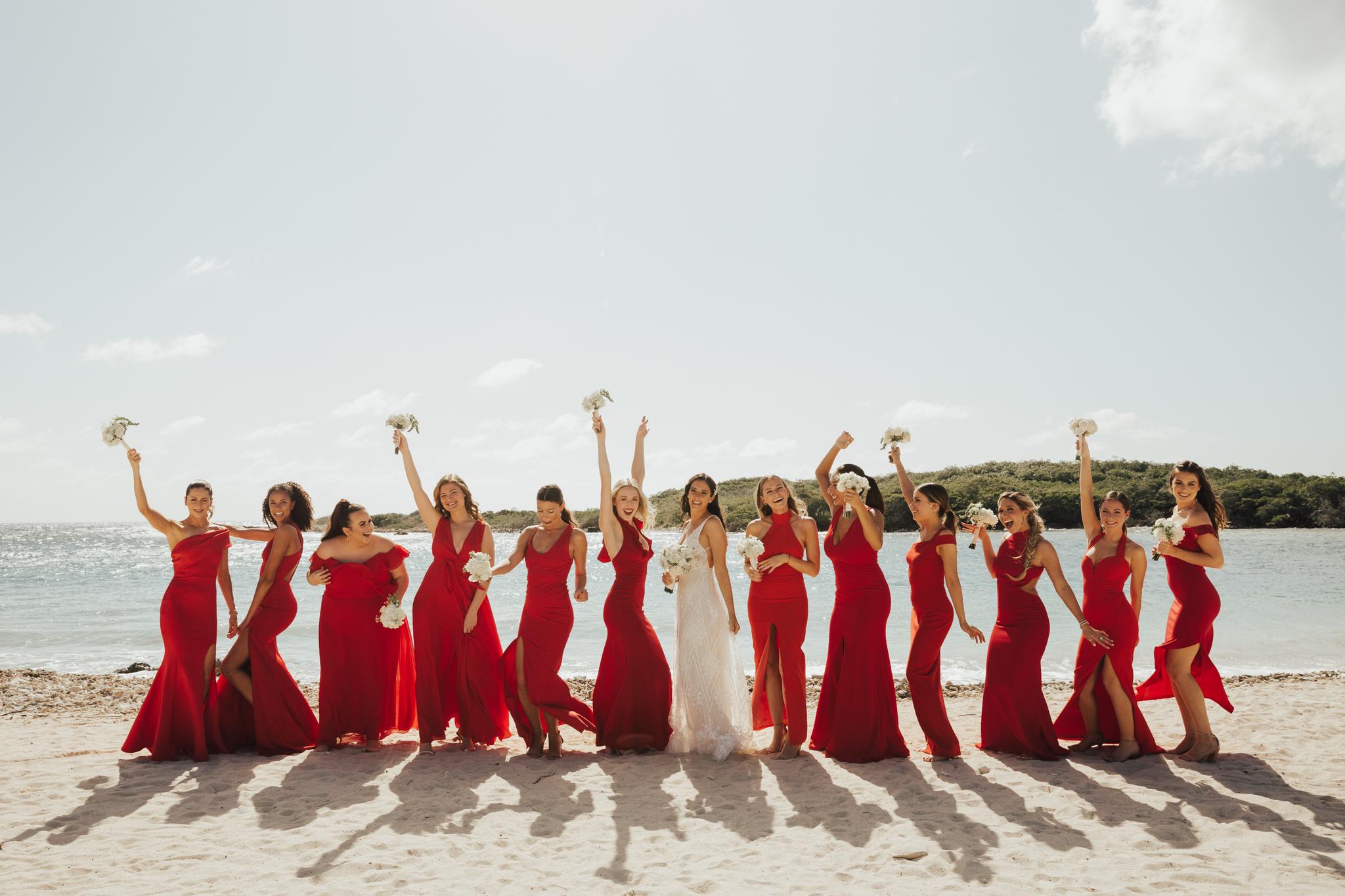 large bridal party wedding