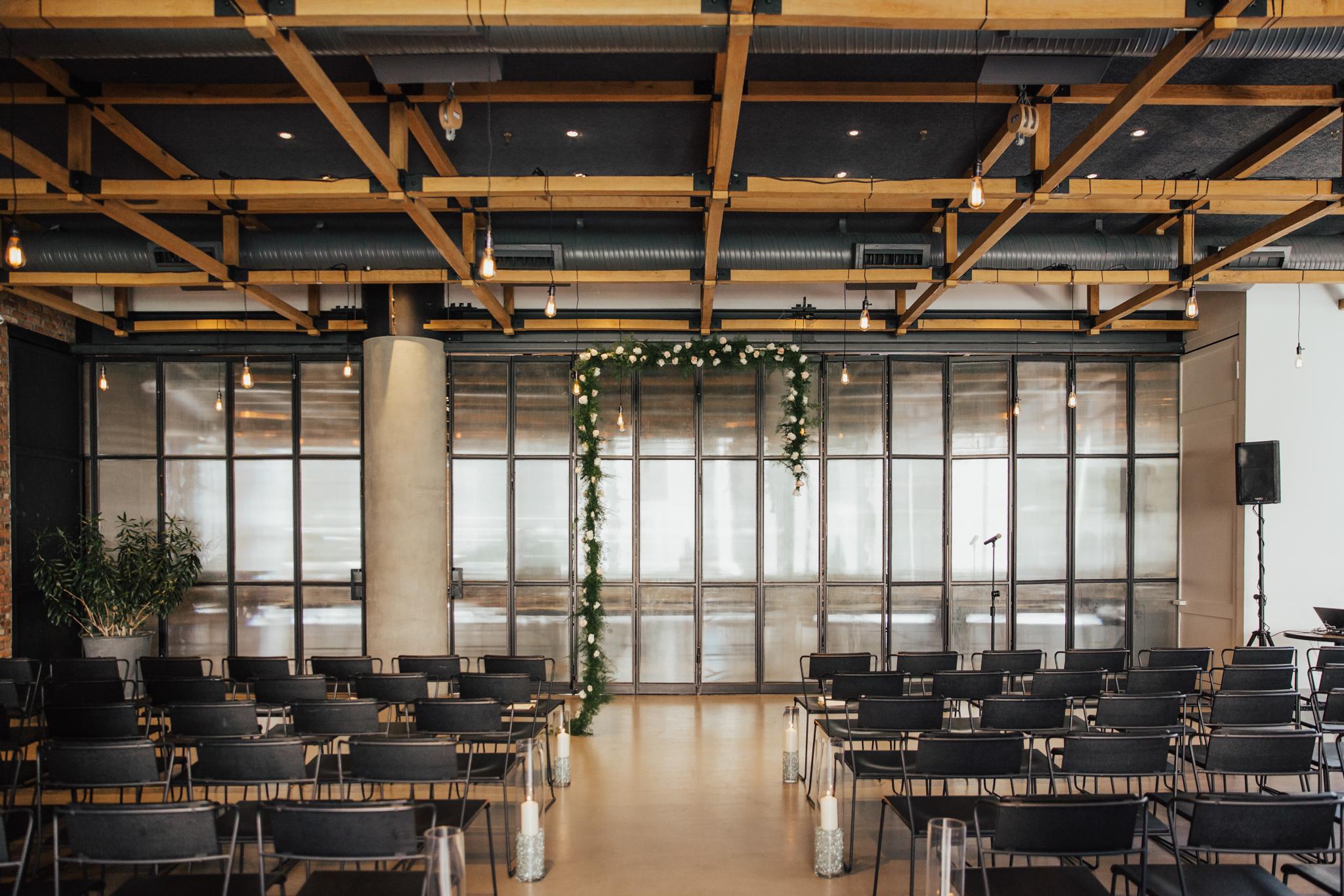 asymmetrical wedding arch flowers