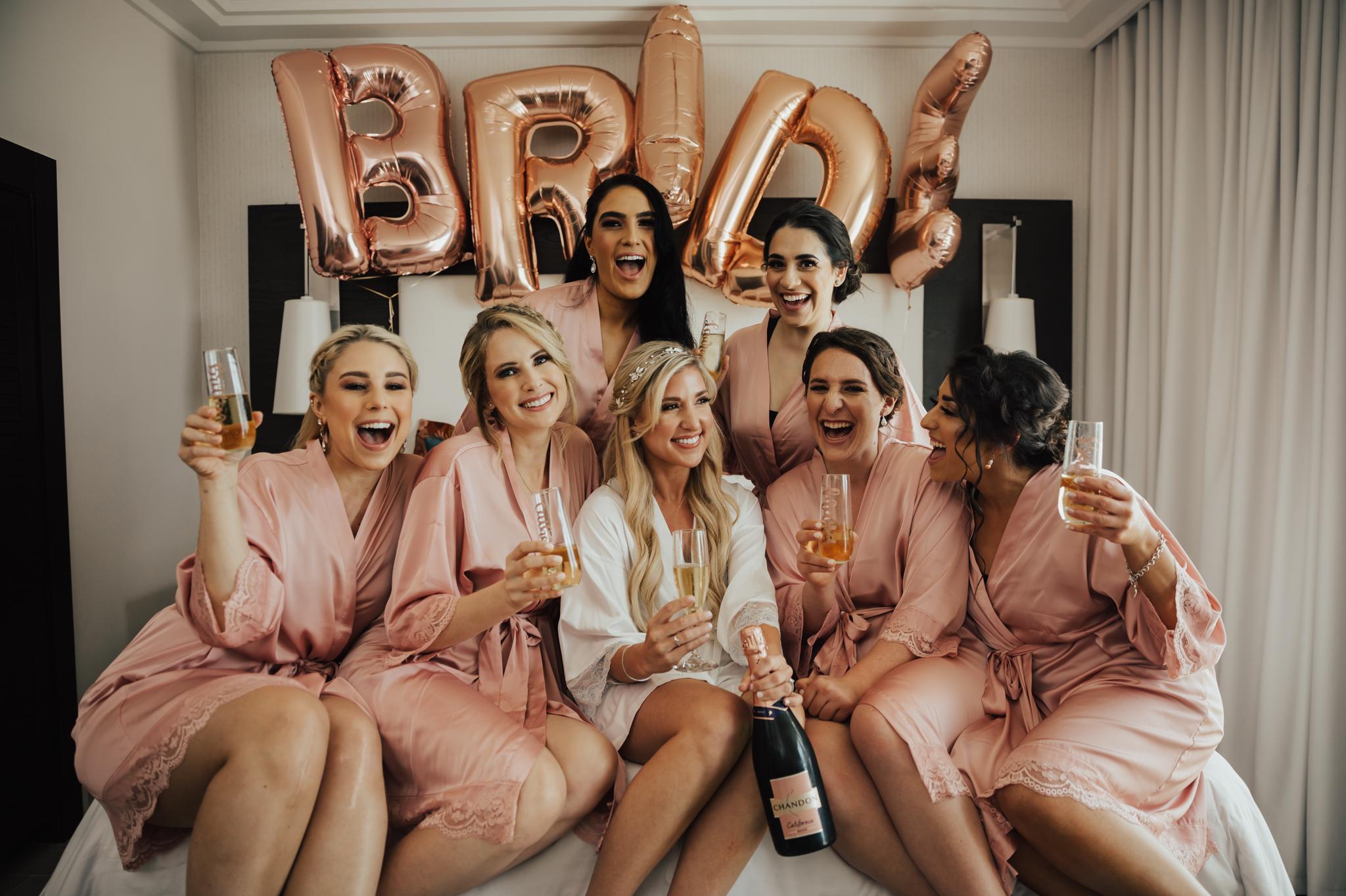 cute getting ready bridesmaids photos