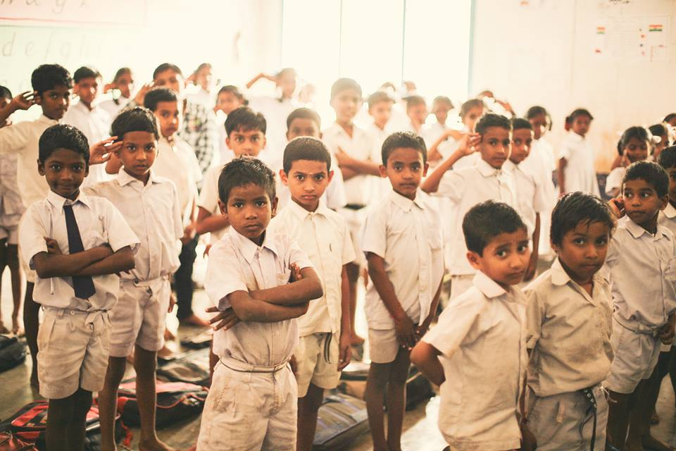 Students at Rock Christian School in Rajahmundry, India