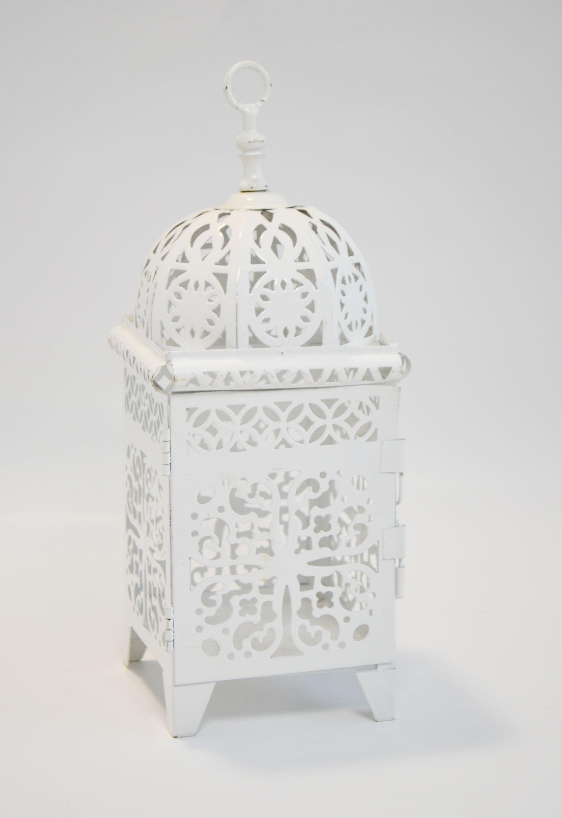 white moroccan lantern - small   Quantity: 23  Price: $12.00
