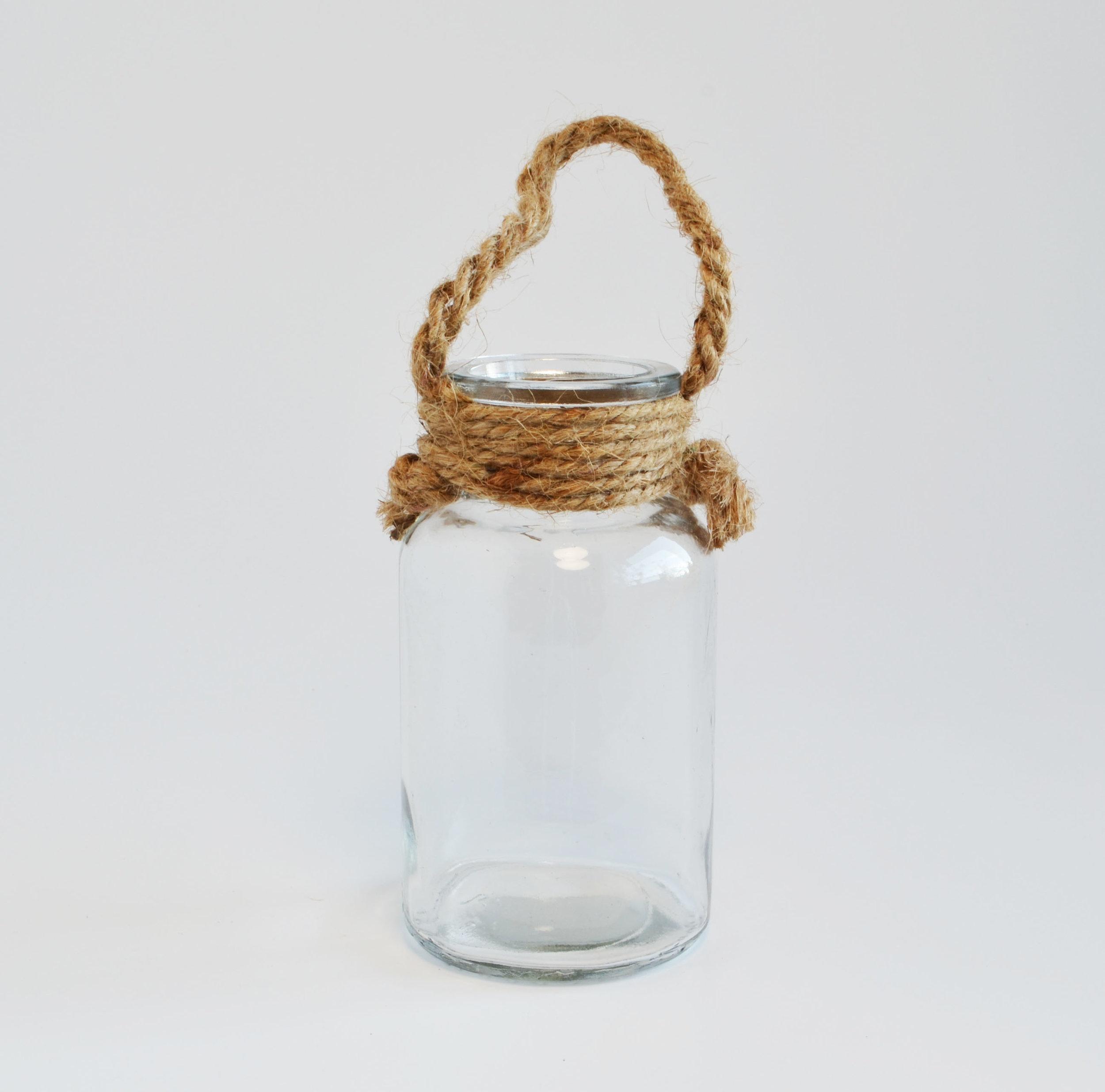 glass + rope vase - short   Quantity: 5  Price: $4.50