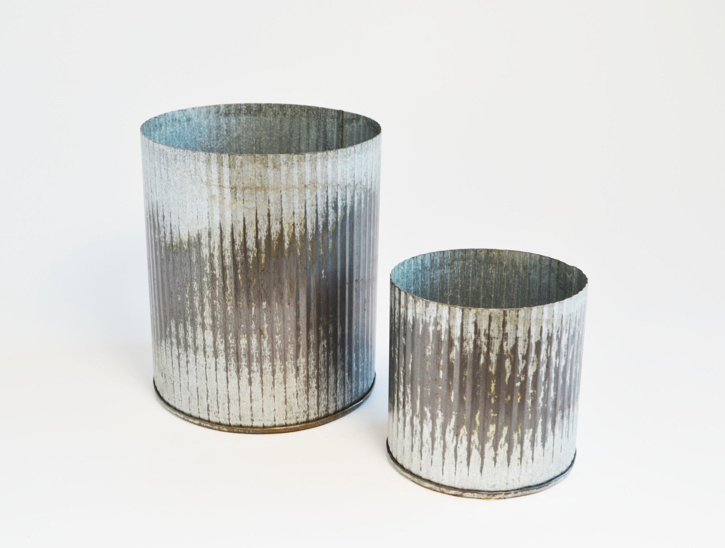 galvanized vase   Quantity: large - 7 small - 11  Price:: $5.50