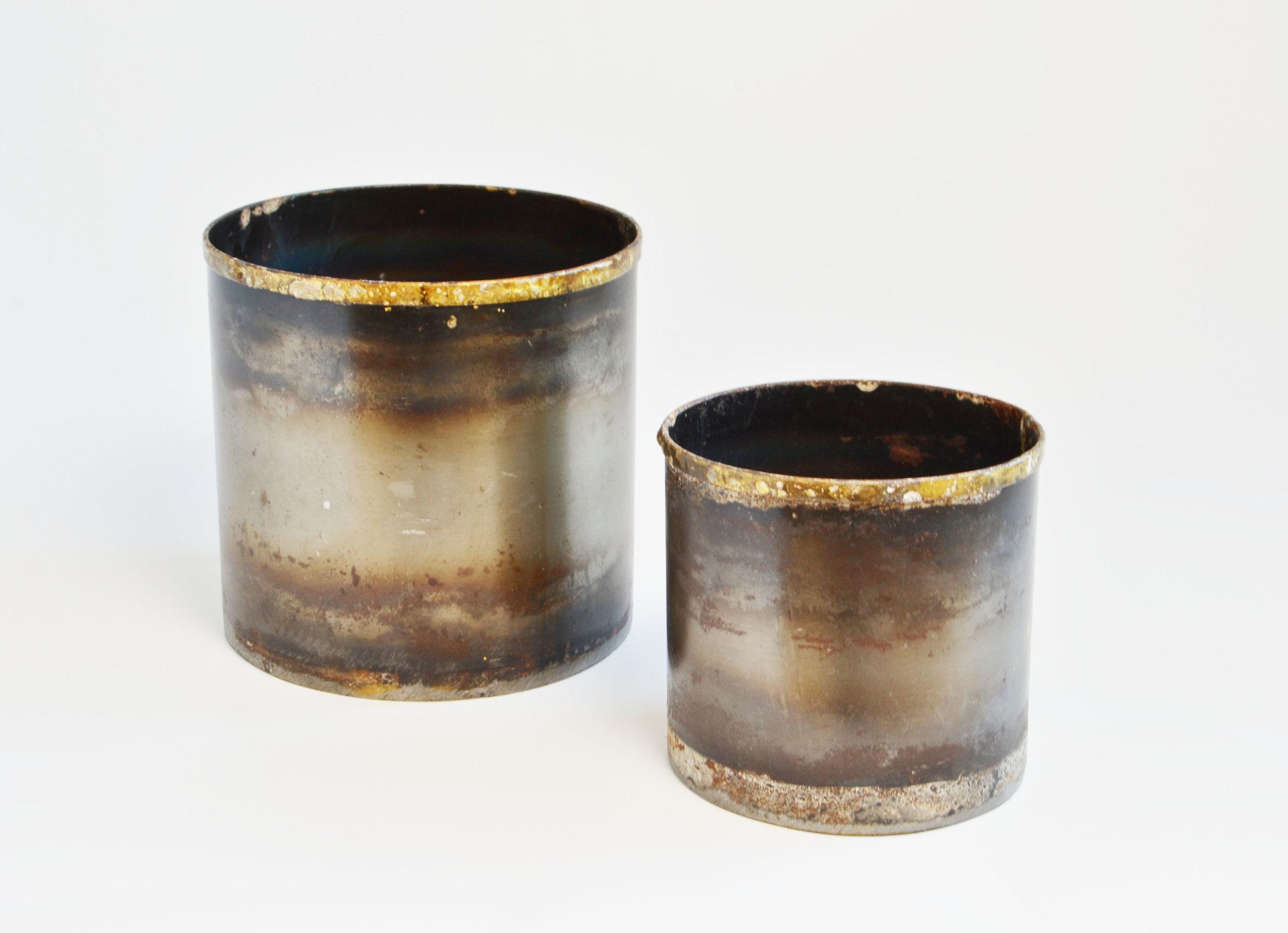 black tin vase   Quantity: large - 17 small - 27  Price: $5.50