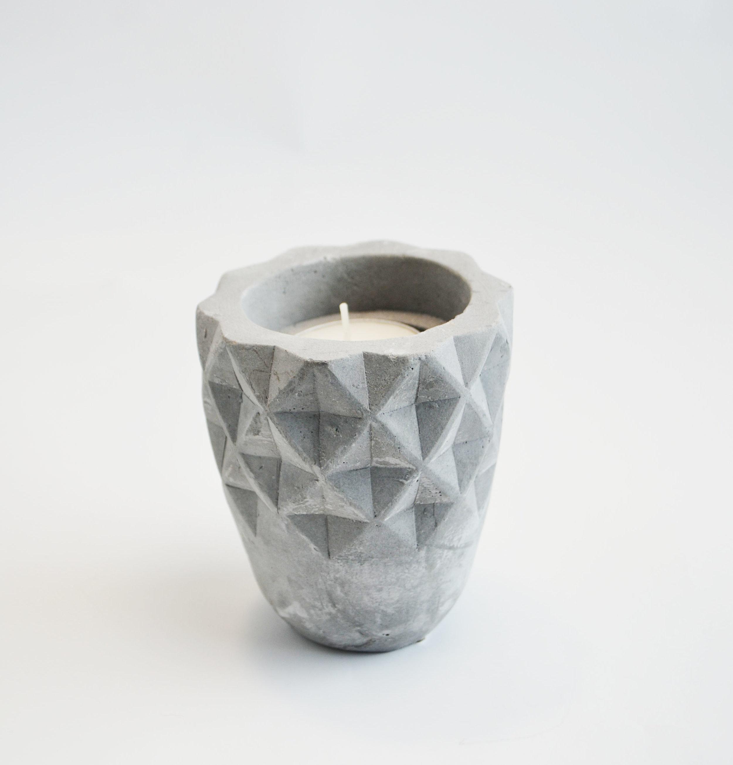 embossed stone votive   Quantity: 4  Price: $4.50