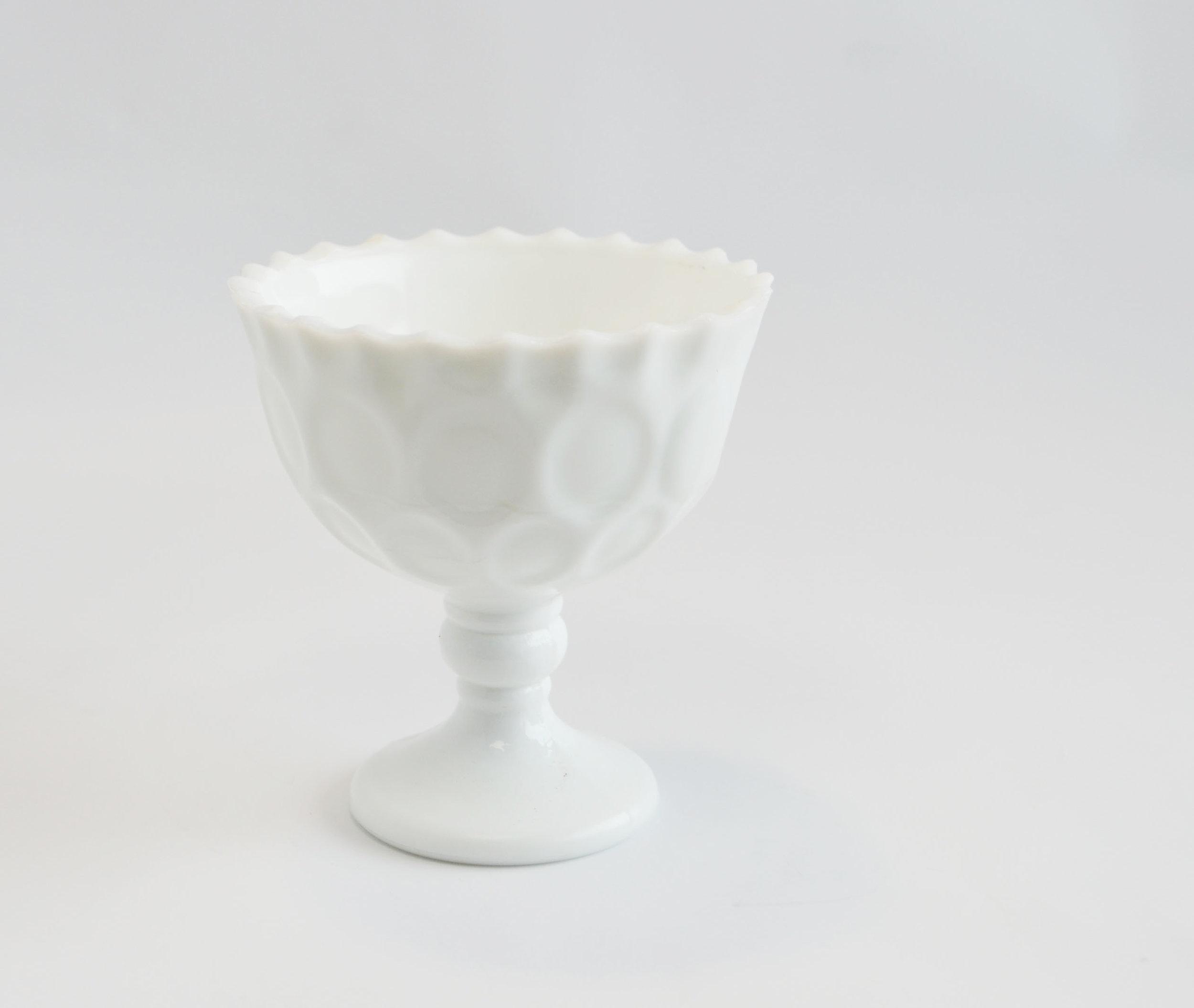 milk glass cups   Quantity: 24  Price: $3.50