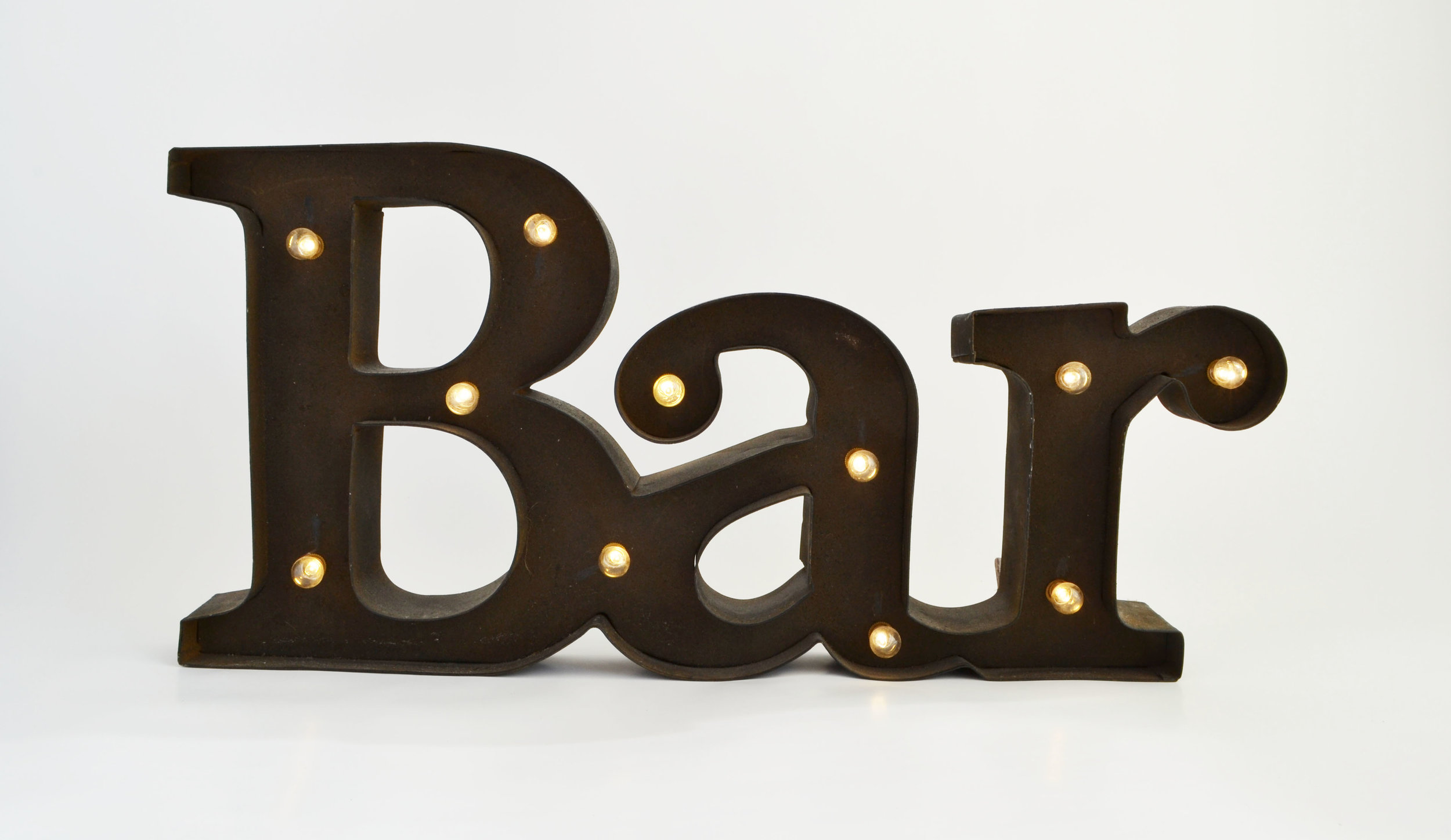 metal marquee 'bar' sign   Quantity: 1  Price: $15.00