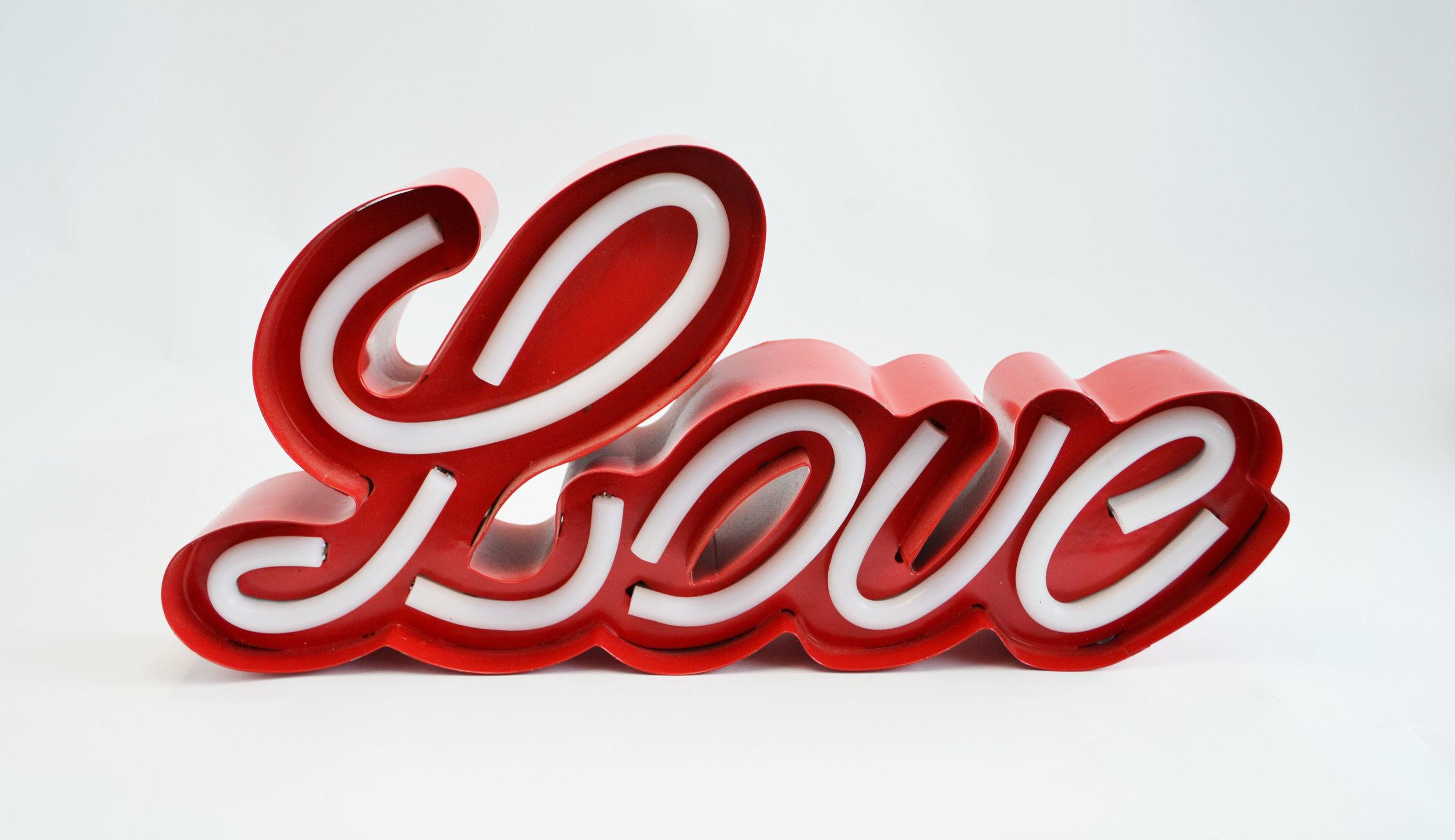 neon 'love' sign   Quantity: 1  Price: $25.00