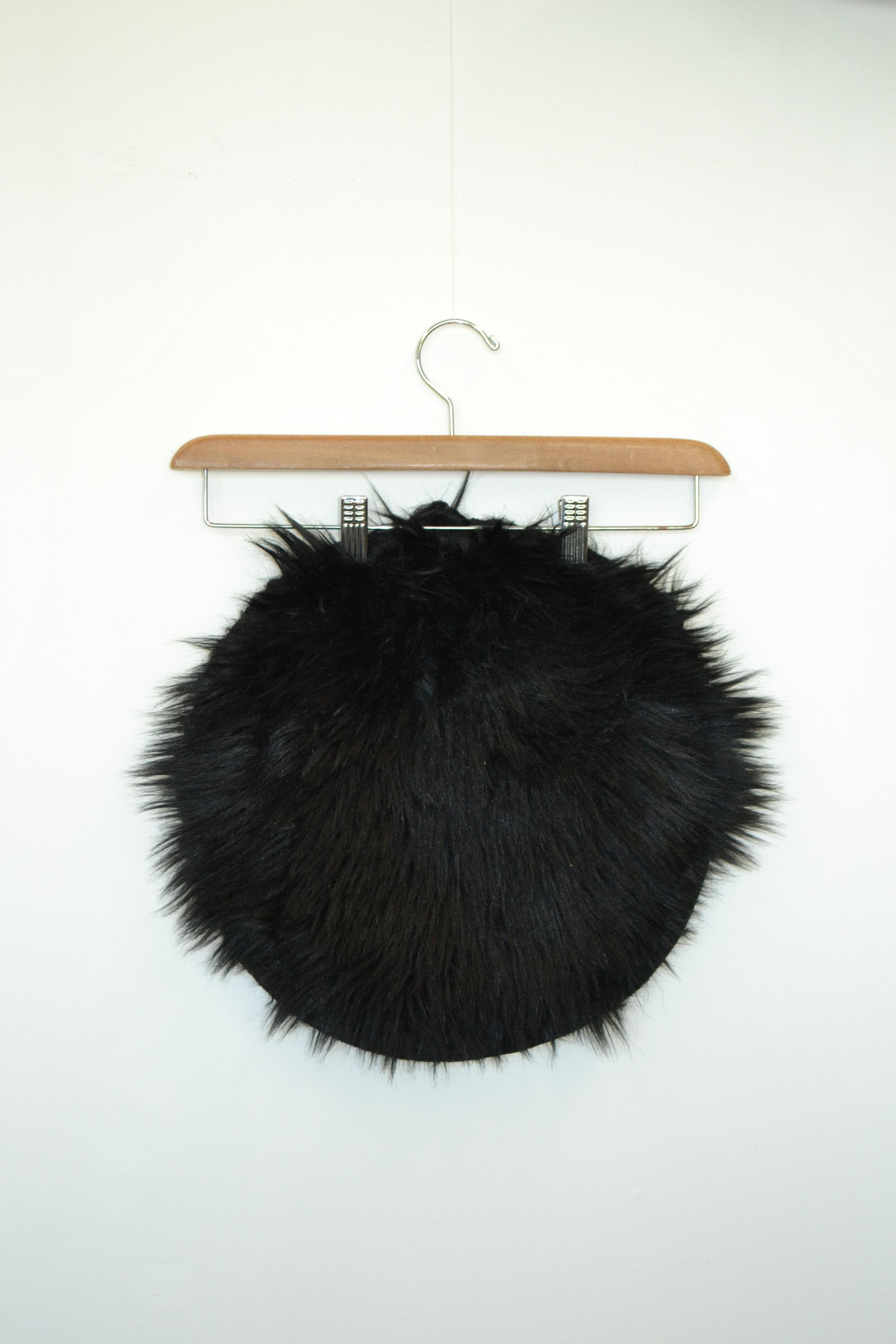 faux-fur stool cover - black   Quantity: 1  Price: $3.50