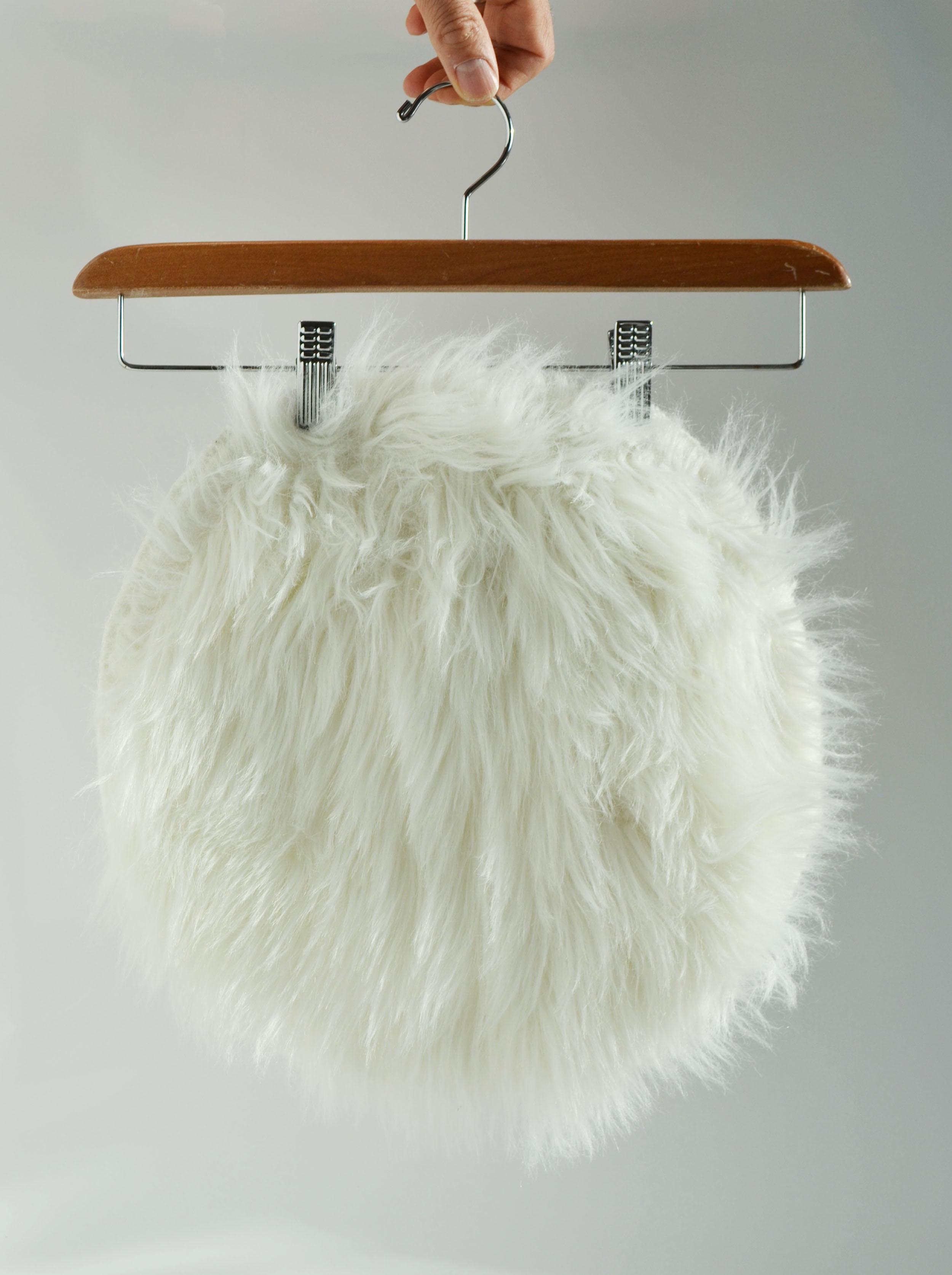 faux-fur stool cover - white   Quantity: 1  Price: $3.50