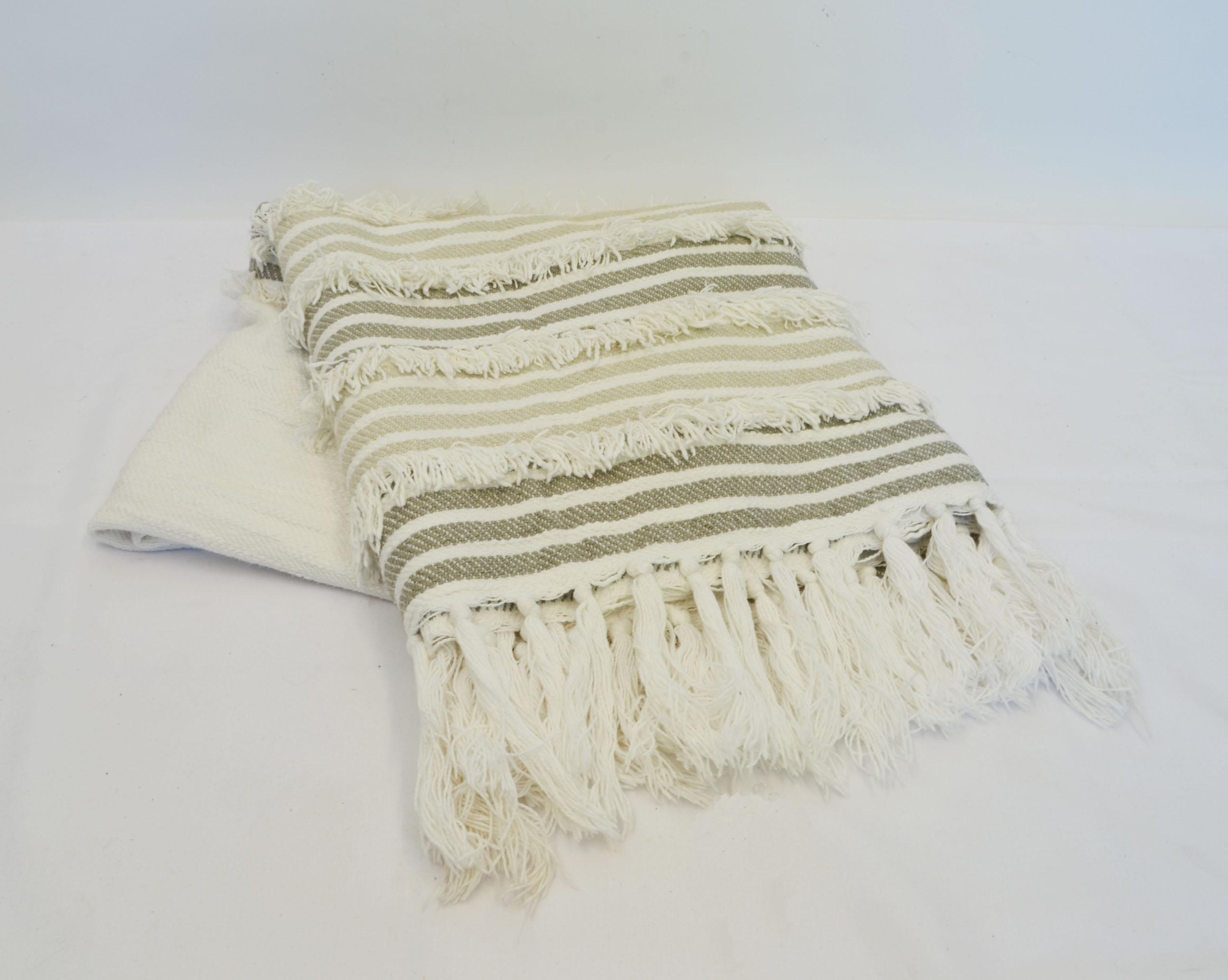 striped cream throw blanket   Quantity: 2  Price: $5.50