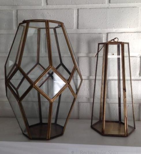fae Lantern   gold glass geometric  Quantity: 2  Price: $20.00 - $10.00