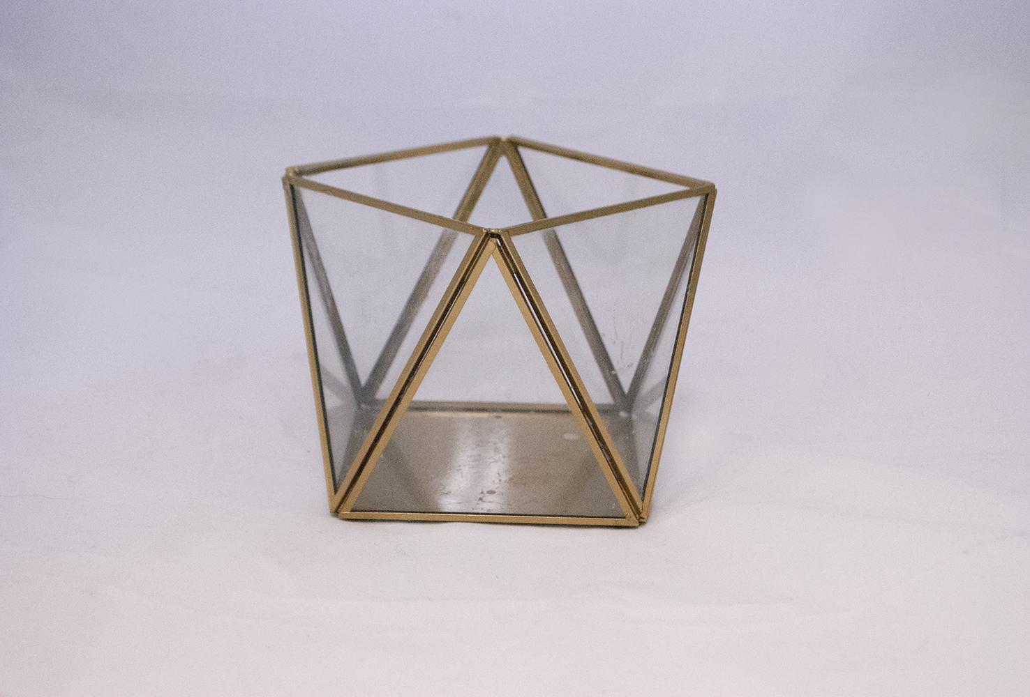 gold lotus Lantern   gold glass geometric  Quantity: 1  Price: $15.00