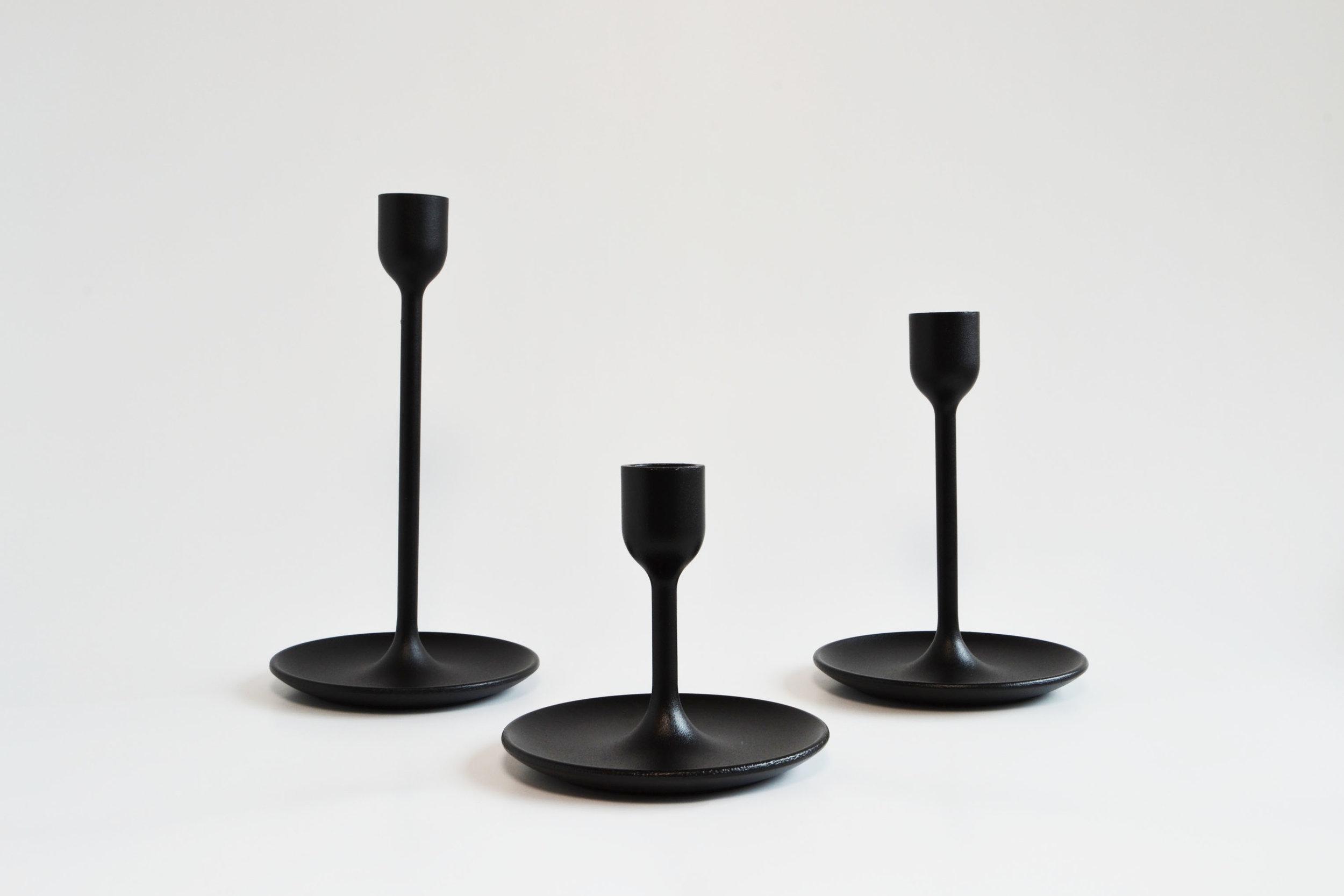 mod black candlestick trio   Quantity: 13 trios  Price: $10.50