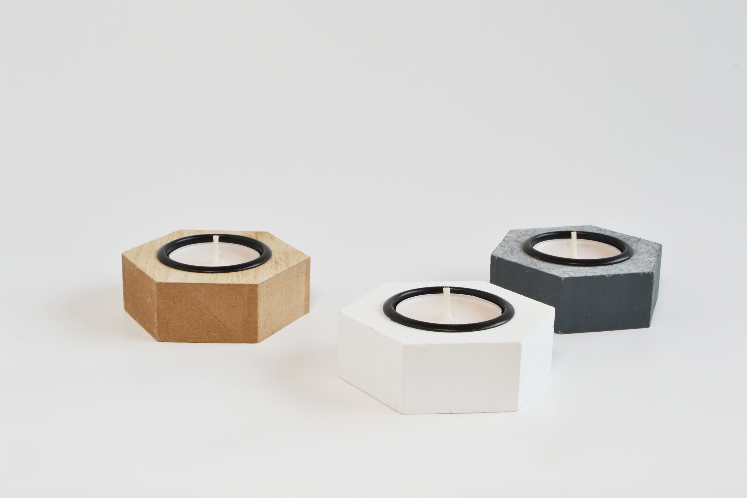 modern hex votive   Quantity: grey - 35 white - 33 wood - 30  Price: $2.50