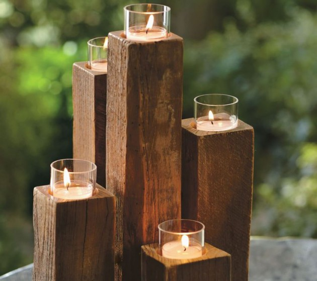 wood block candle holder   Quantity: 8 sets of 5  Price: $5.50
