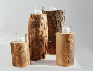 wood stump candle holder   Quantity: L (6) - M (7) - S (100)  Price: $5.50