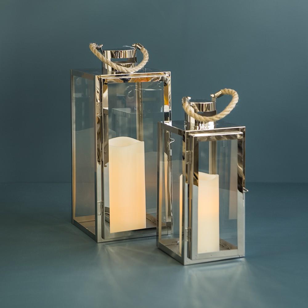 "argenti lantern (small)  Silver metal Lantern w/rope- 5"" x 4.7"" x 11.6""  Quantity: 9  Price: $17.00"