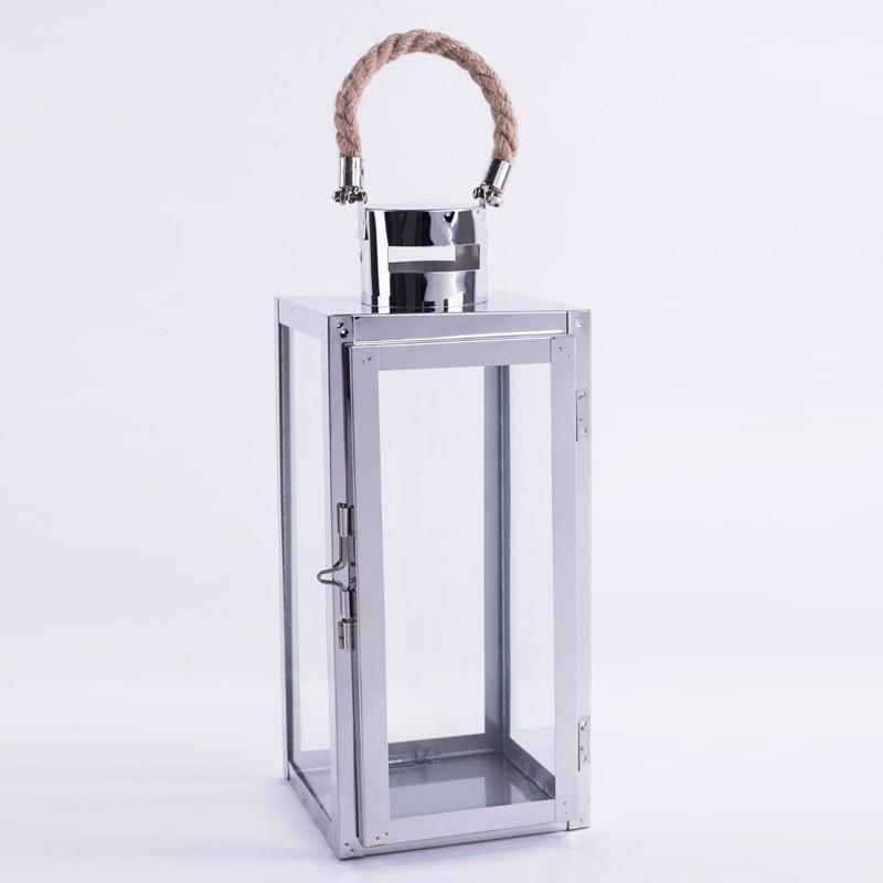 "argenti lantern (large)  Silver metal Lantern w/rope- 6.9"" x 6.5"" x 16""  Quantity: 9  Price: $20.00"