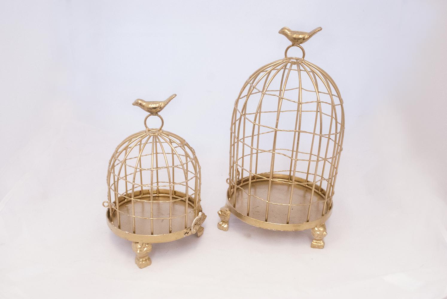 GOLD BIRDCAGES (SMALL + MEDIUM)   QUANTITY: (SMALL - 2) (MEDIUM - 2)  PRICE: $13.00 - $15.00