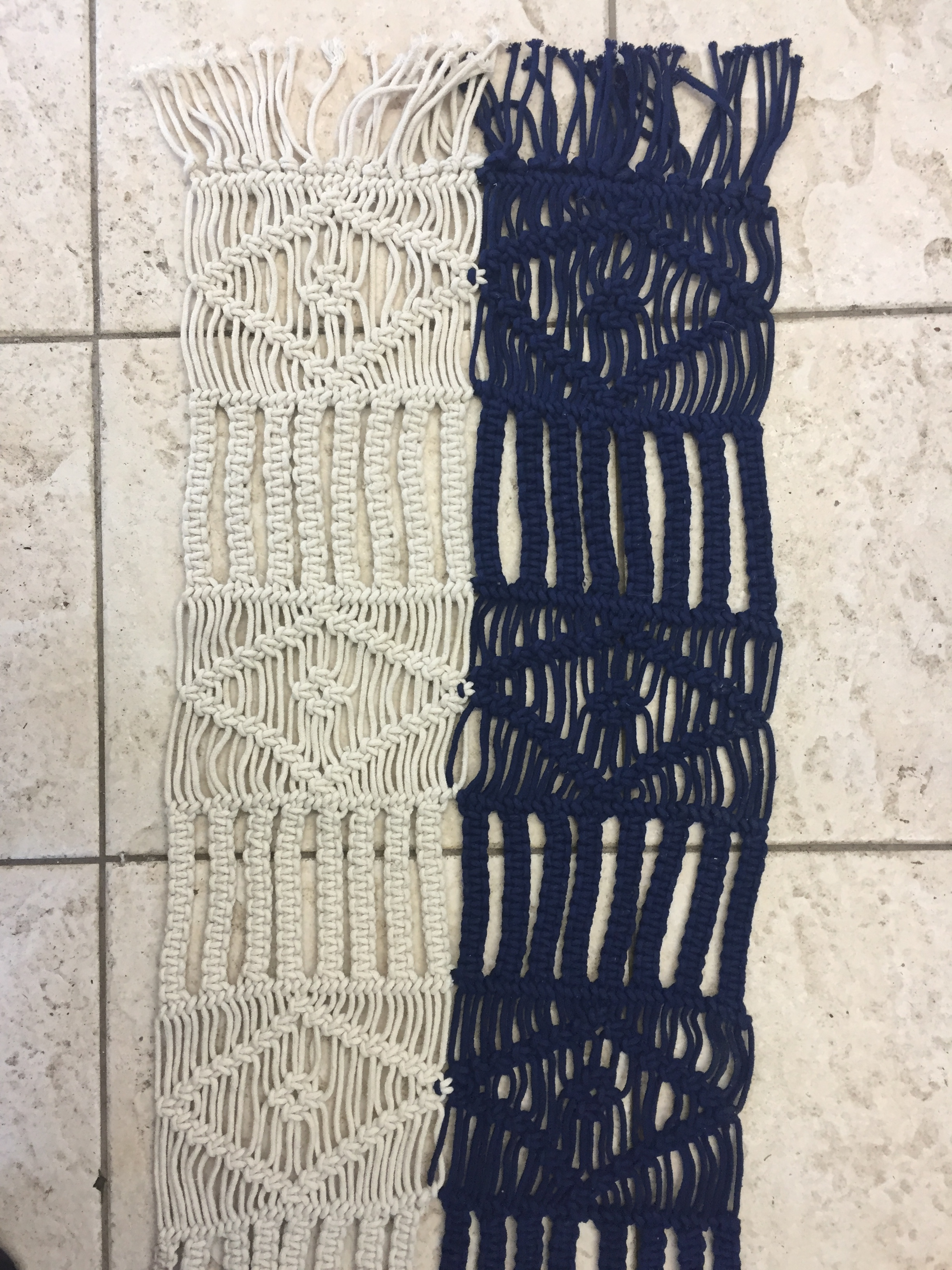two-toned macrame runner   quantity: 2  PRICE: $10.00