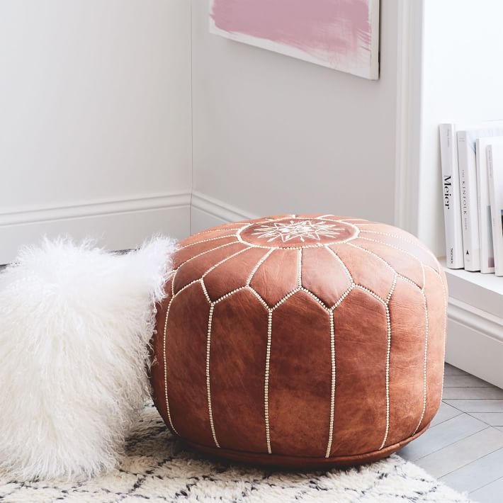 brown leather POUF   QUANTITY: 1  PRICE: $25.00