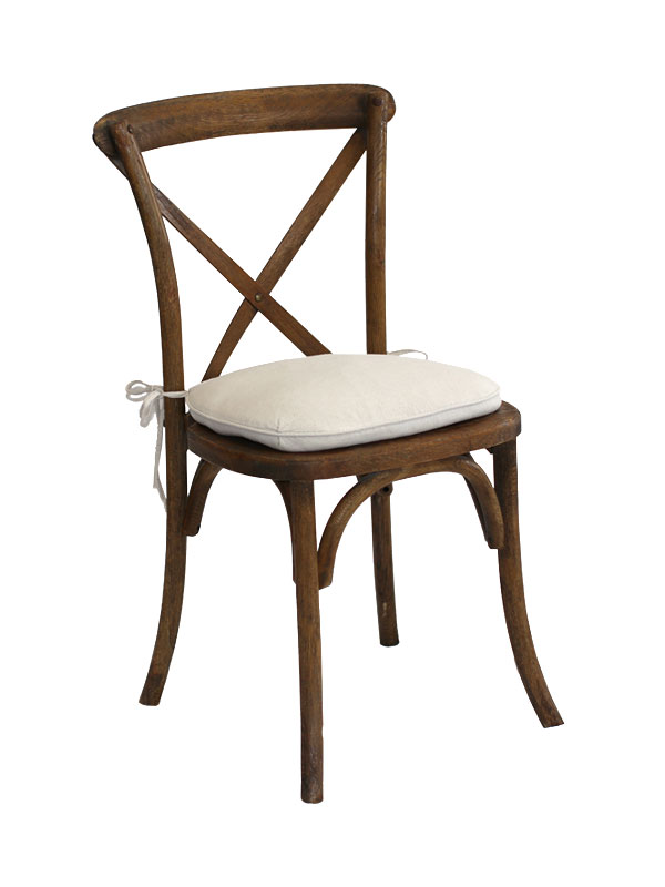 vineyard cross-back chair + cushion   Quantity: 60  Price: $12.50