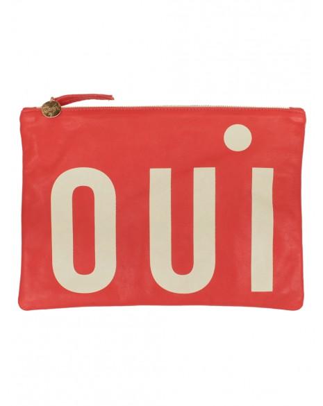 Oui Flat Clutch Poppy and Cream Les Nouvelles.jpg