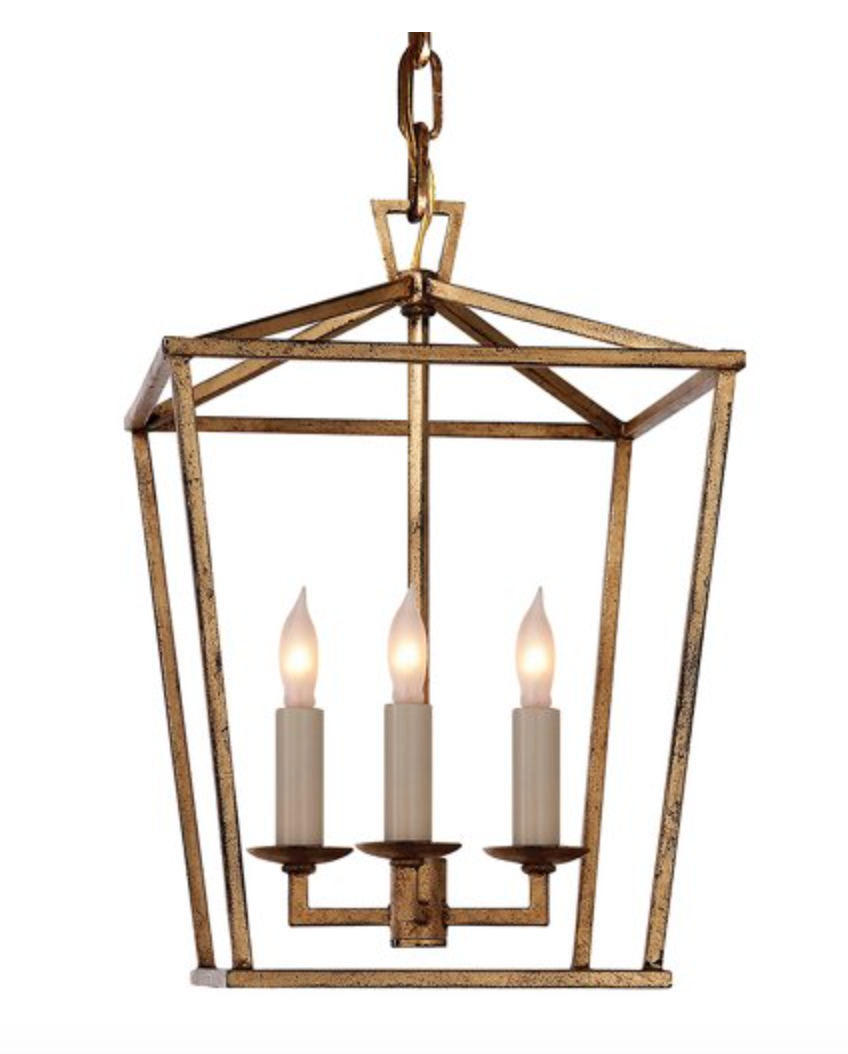 Gilded Iron Mini Lantern Chandelier