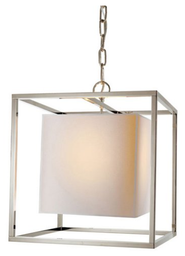 Polished Nickel Small Caged Lantern Chandelier