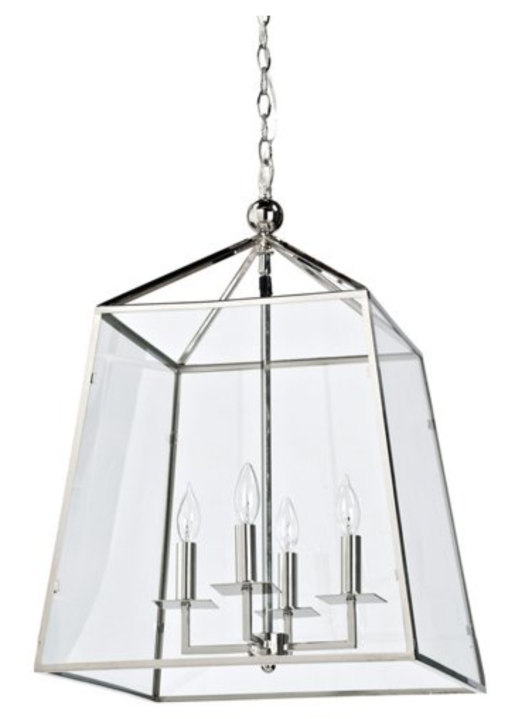Metal and Glass Lantern Chandelier