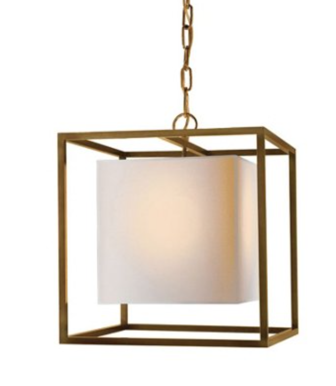 Small Antique Brass Caged Pendant Lantern