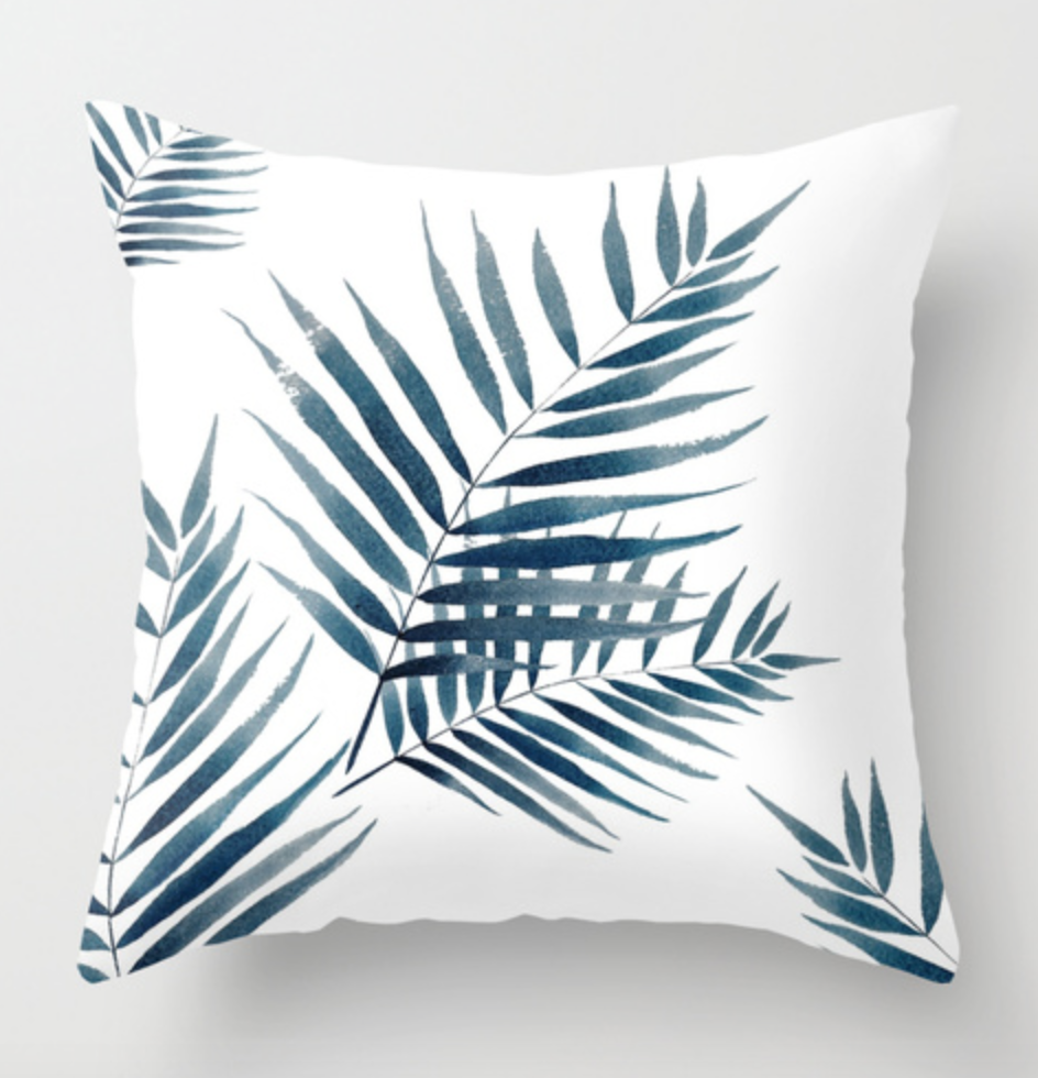 Blue Palm Watercolor Pillow