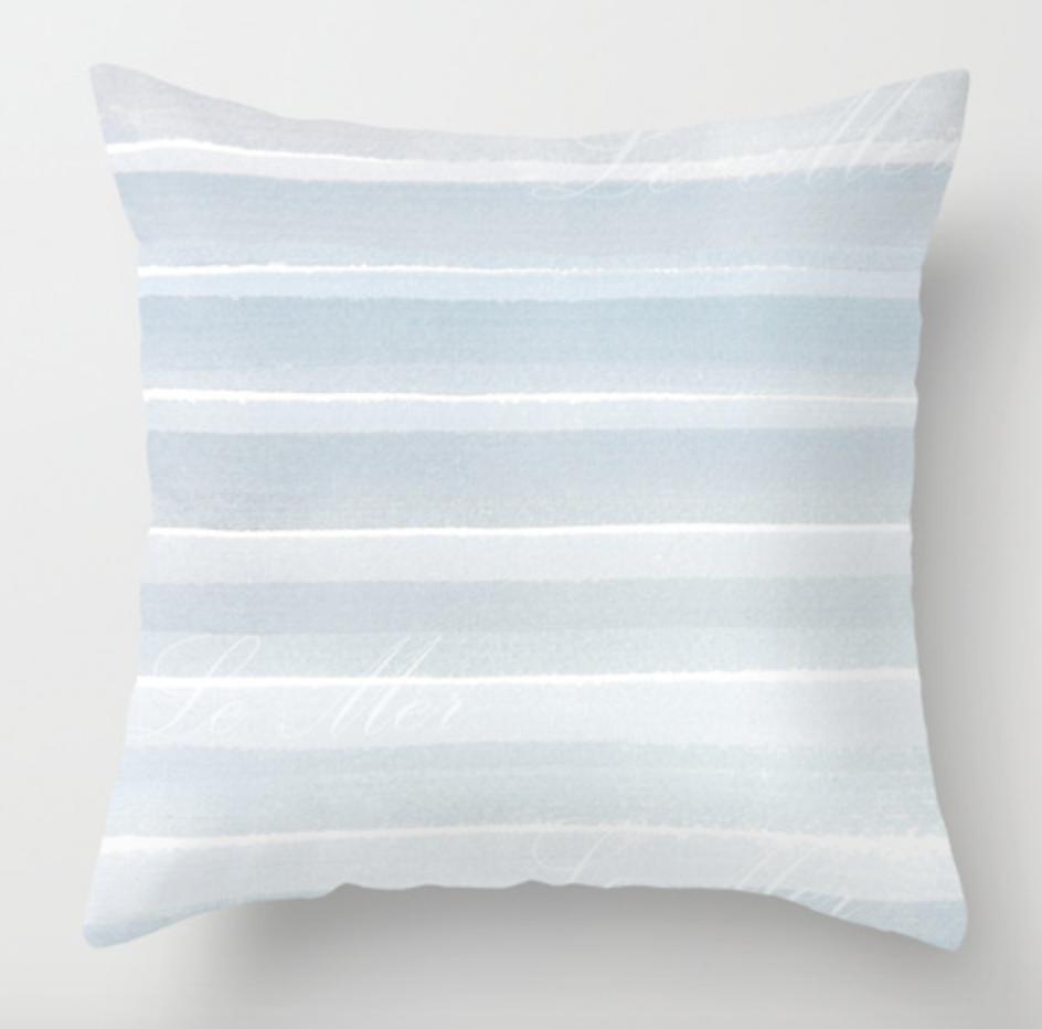 Calm Sea Blue and White Striped Pillow
