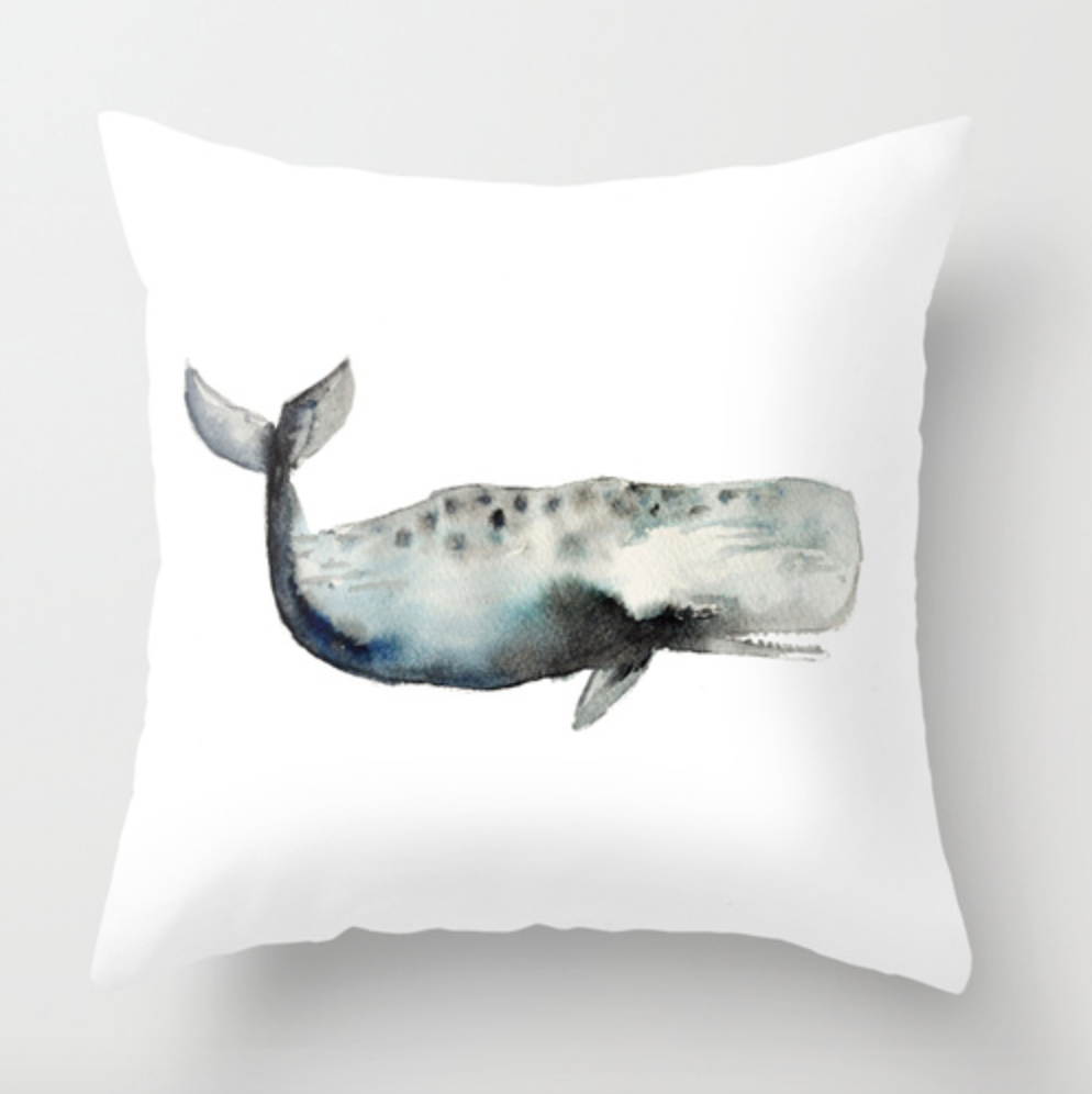 Whale Watercolor Throw Pillow