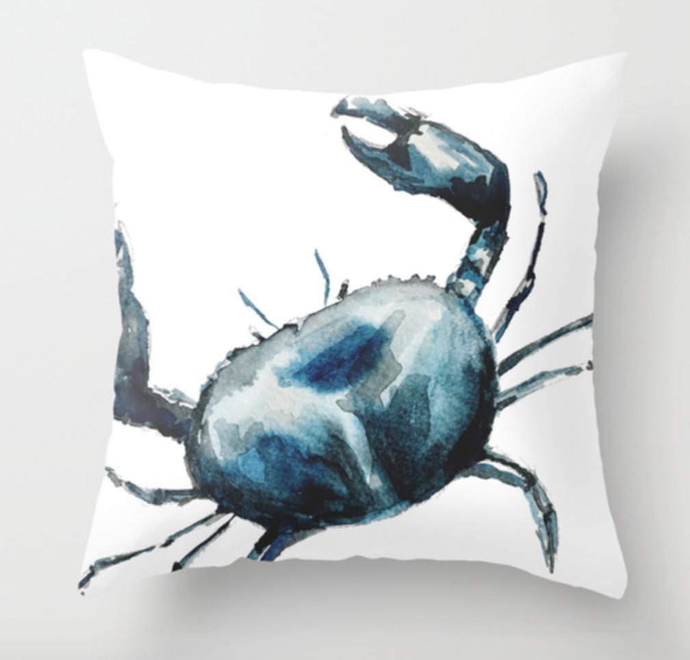 Blue Crab Watercolor Pillow