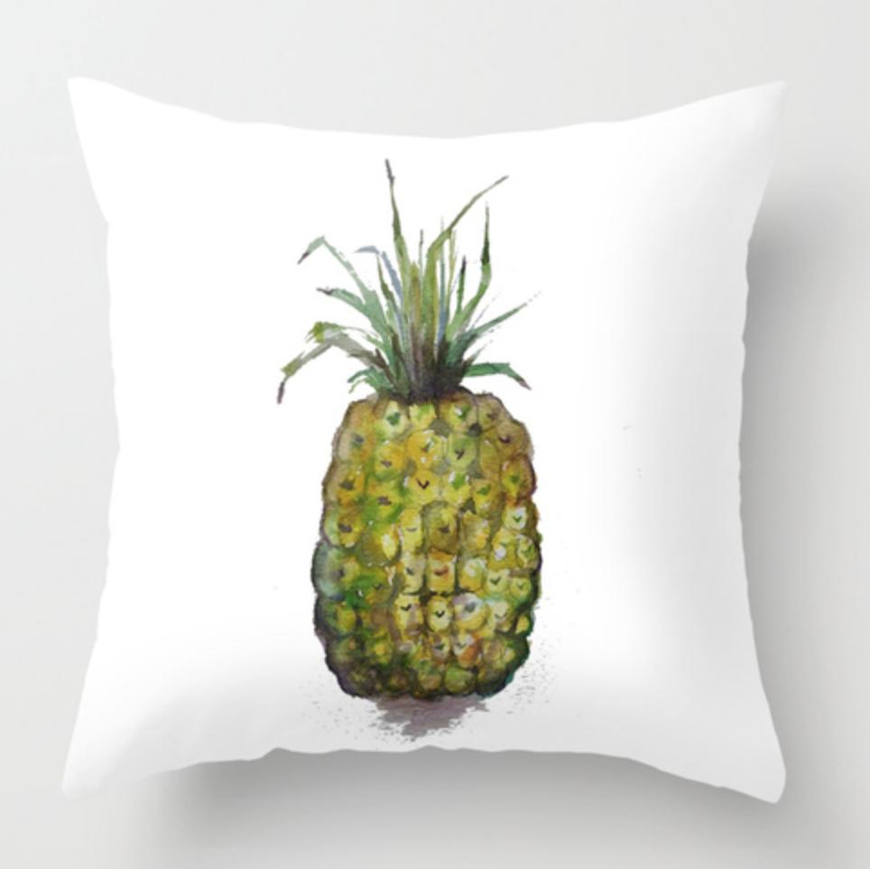 Single Pineapple Watercolor Throw Pillow