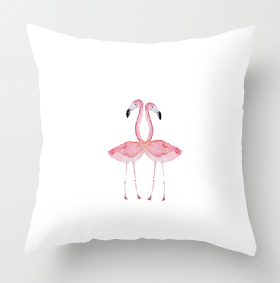 Double Flamingos Watercolor Throw Pillow