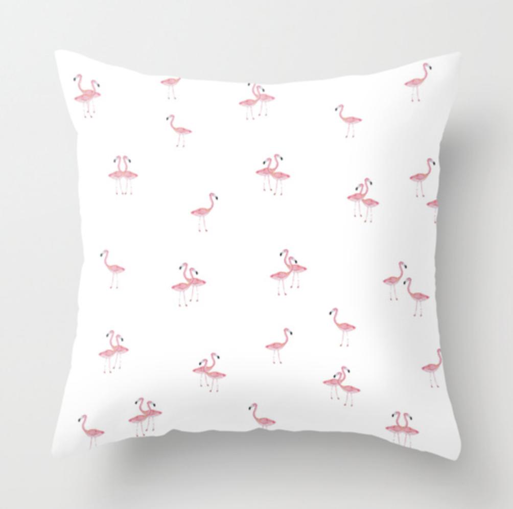 Flamingo Trio Watercolor Throw Pillow