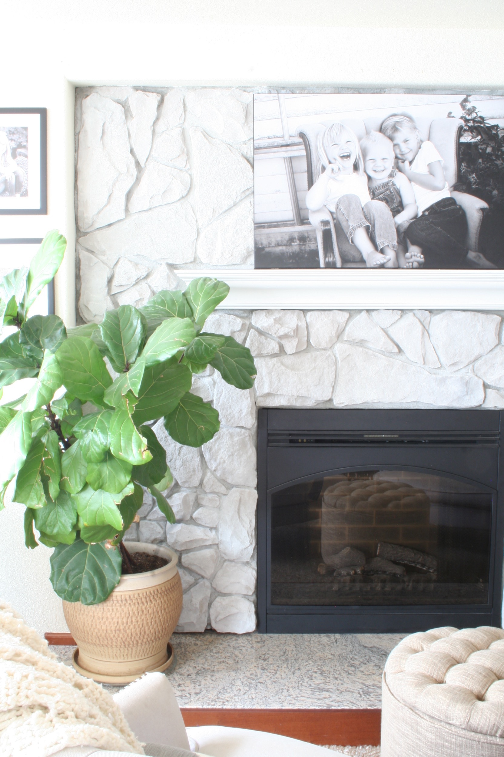DIY Fireplace Makeover - How To Whitewash Stone