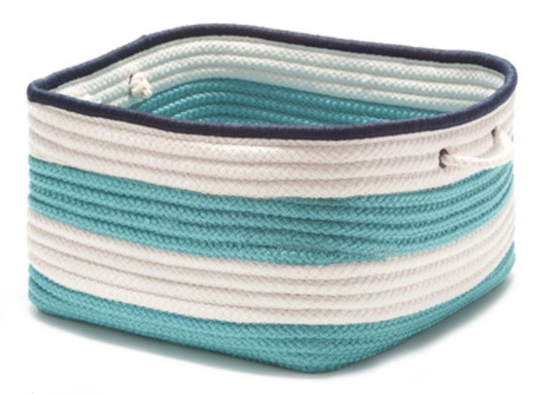 Turquoise and White Striped Rope Basket