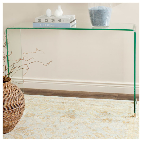 Glass Waterfall Console Table