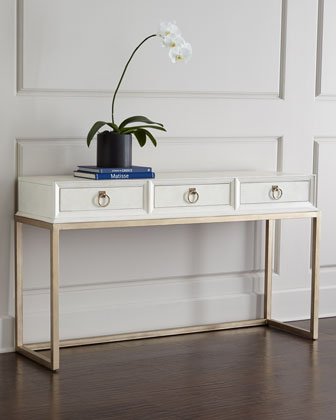 White and Gold Console Table with Drawers