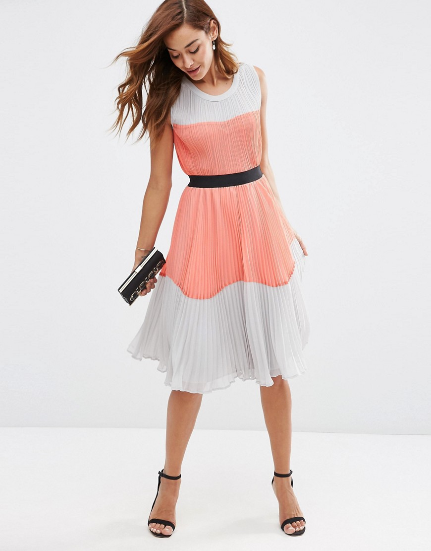 Pink and Grey Colorblock Dress