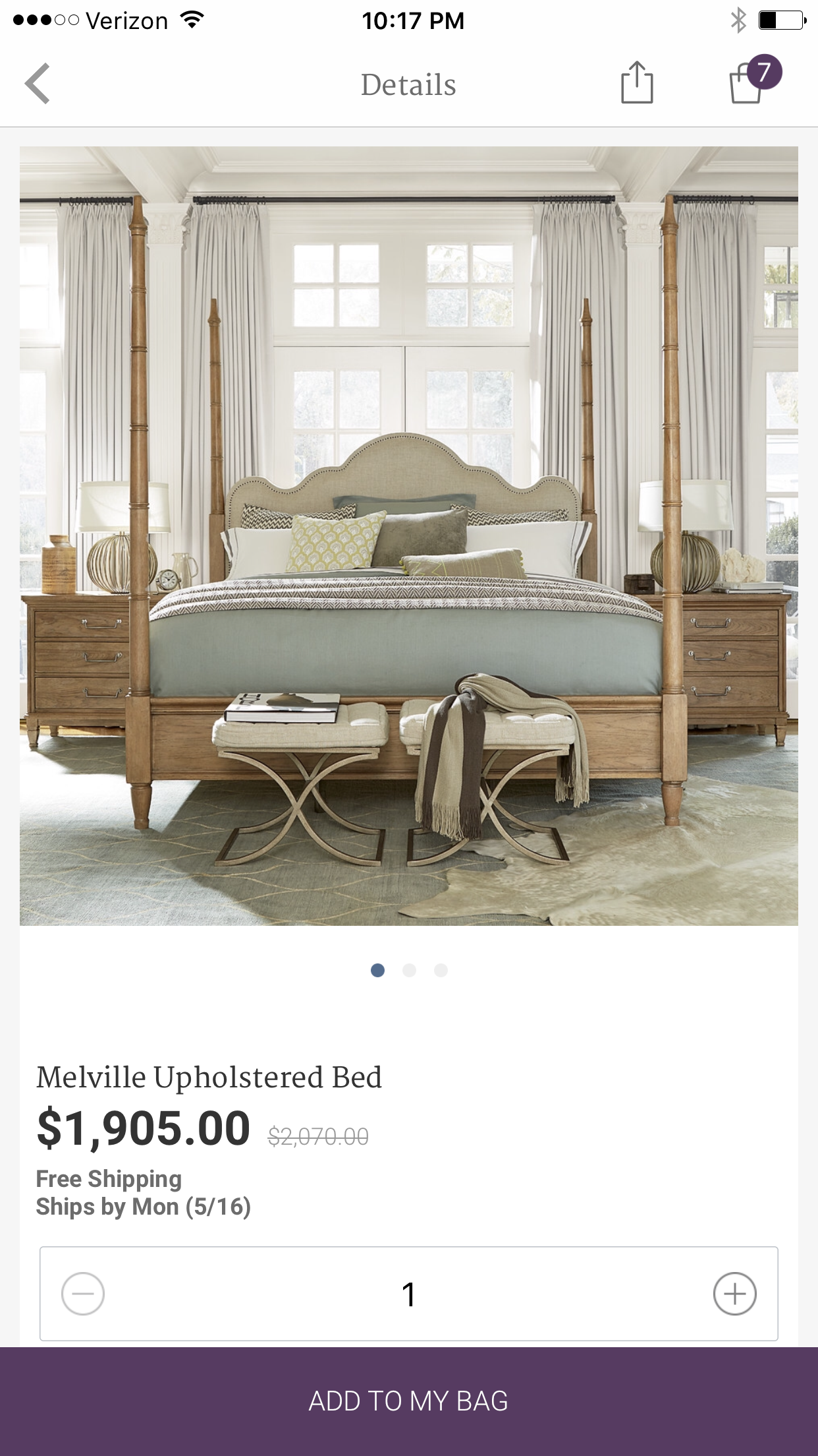 From $1900 to $1000 savings on this upholserted poster bed!