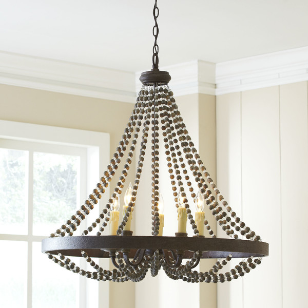 Large Rustic Beaded Chandelier