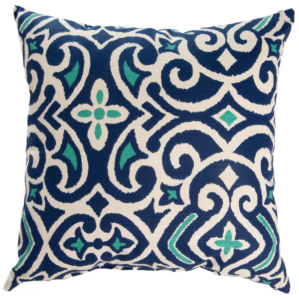 Blue and Teal Damask Outdoor Pillow