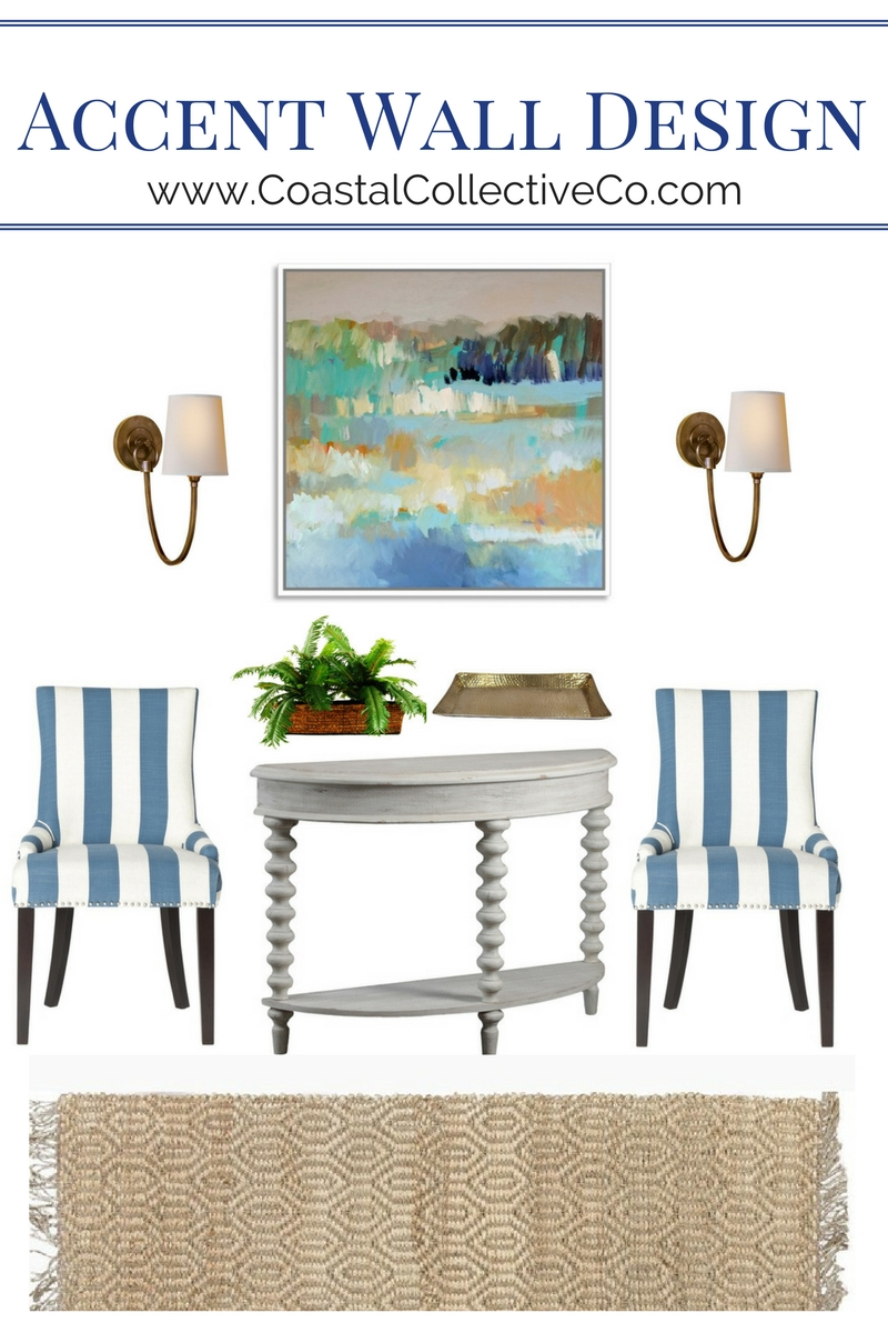 Accent Wall Design with Striped Chairs and Spindle Leg Weathered Gray Console Table