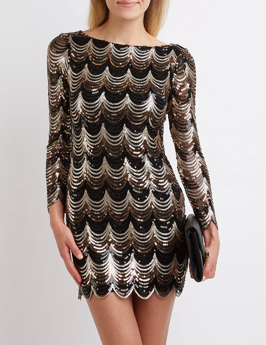 Scalloped Sequin Bodycon Dress